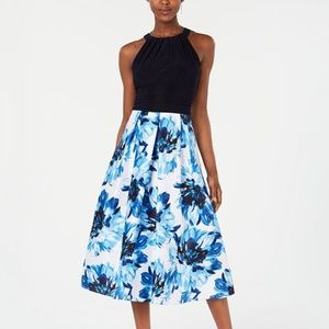 SL Fashions Solid & Floral-Print Halter Dress